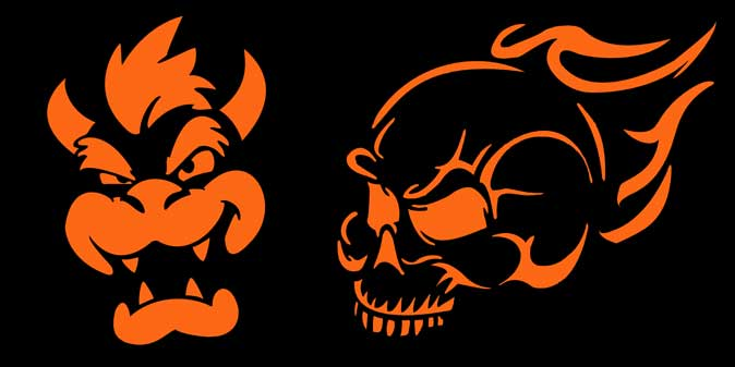 Bowser Face and Flaming Skull Pumpkin Patterns