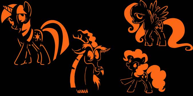 Twilight Sparkle, Pinkie Pie, Fluttershy and Discord